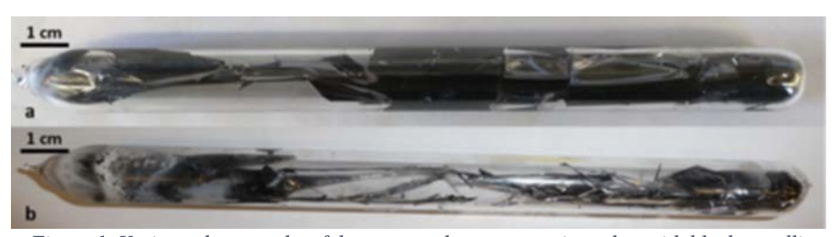 Various photographs of the unopened quartz reaction tubes with black metallic flakes fo directly-synthesized PCx deposited on the walls and as free-standing flakes